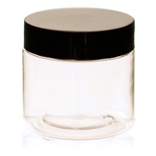 2 oz Clear Plastic Jar Straight Sided w/ Plastic Lined Caps