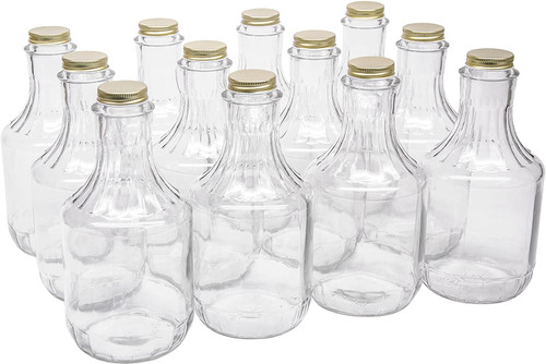 32 Ounce Glass Sauce Bottle - With 38mm Gold Metal Lids - Case of 12