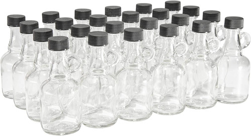1.7 Ounce Glass Syrup Bottles with Loop Handle & Black Plastic Lids - Case of 24