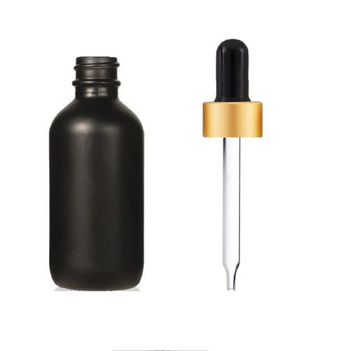 1 Oz Matt Black Glass Bottle w/ Black-Matt Gold Regular Glass Dropper