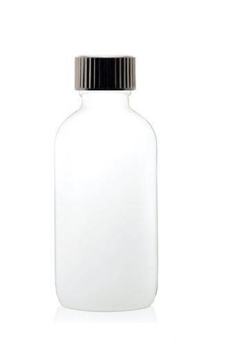 4 Oz Matt White Glass Bottle w/ Black Poly Seal Cone Cap