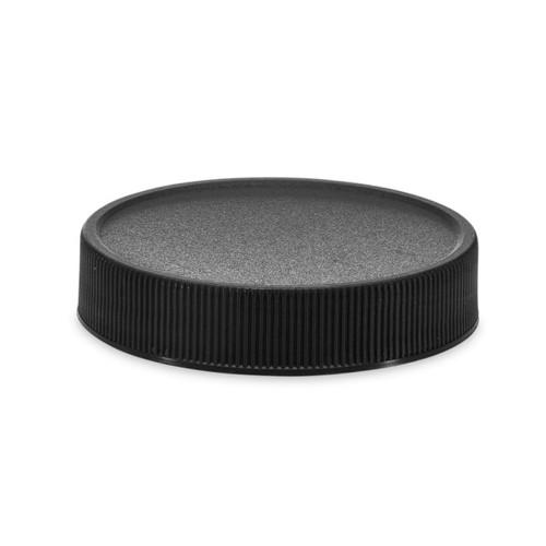 Black PP plastic 58-400 ribbed skirt lid with Polyethylene foam liner - pack of 100