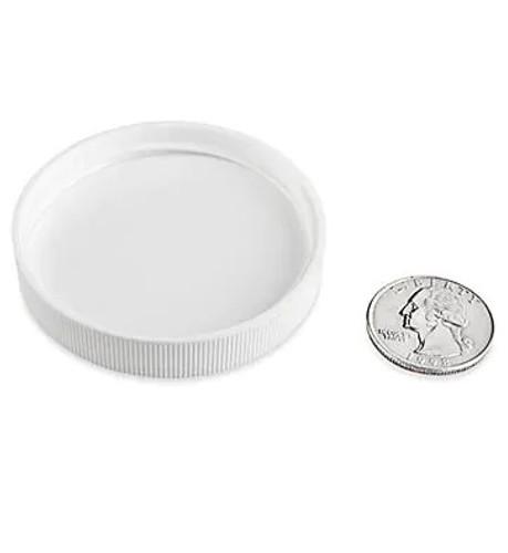White PP plastic 58-400 ribbed skirt lid with Polyethylene foam liner - pack of 100