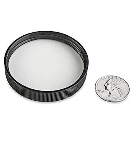 Black PP plastic 53-400 ribbed skirt lid with Polyethylene foam liner - pack of 150