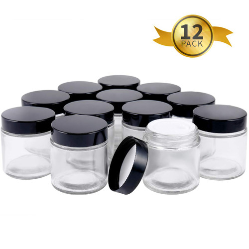 4oz Glass Jars with Lids(12 Pack),  Round Glass Jars with Inner Liners and Black Lids, Empty Cosmetic Containers for Creams, Powder