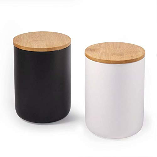 Ceramic Food Storage Jar with Storage Bag and Wooden Lid, (Set of 2) Food Storage Canister, 23.34 FL OZ (720 ML) Portable Airtight Food Storage Jar for Coffee, Nuts, Tea and More (White and Black)
