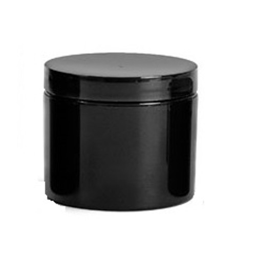 (pk 660) 2 oz black PP double wall straight base jar with 58-400 neck finish with Black Lids