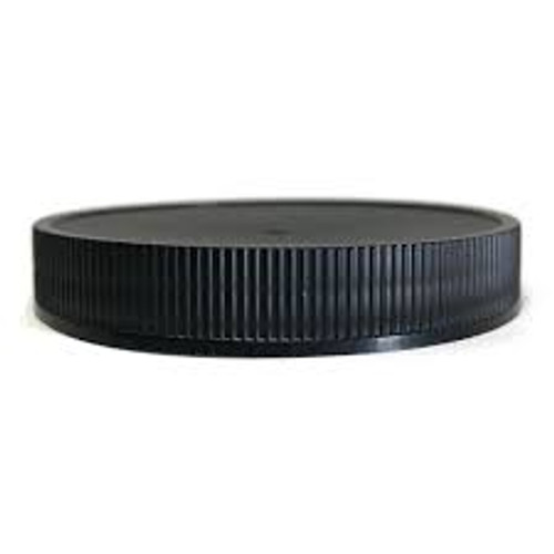 Black PP plastic 58-400 ribbed skirt lid with foam liner - Case of 1100