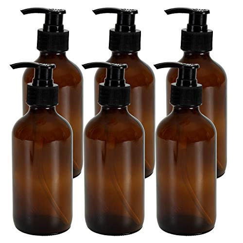 6 Pack Amber Glass Bottles with Black Lotion Pumps - 8oz Refillable BPA-FREE Pump Bottle for Liquid soaps, Homemade Lotions, Shampoos