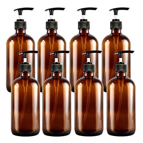 8Oz Amber Glass Pump Bottles 8 Pack, Empty Refillable Shampoo Bottles, Pump Lotion Foam Bottles Conditioner Dispenser