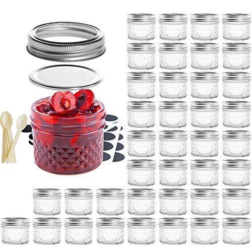 Mason Jar BPA-Free 4oz Mini Canning Jars with Regular Lids and Bands, 40 PACK