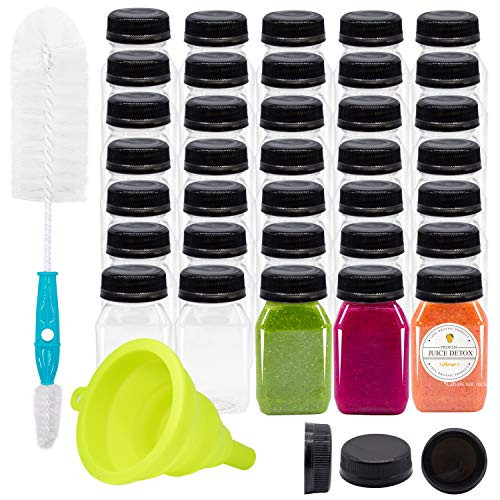 Empty PET Plastic Juice Bottles - Pack of 20 Reusable Clear Disposable Milk Bulk Containers with Funnel and Brush and Tamper Evident Caps (Black, 4 oz)