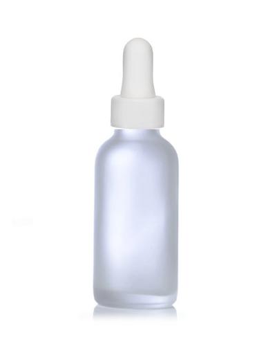 4 Oz Frosted Glass Bottle w/ White Regular Glass Dropper
