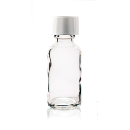 1 oz (30ml) CLEAR Boston Round Glass Bottle with White Child Resistant Cap