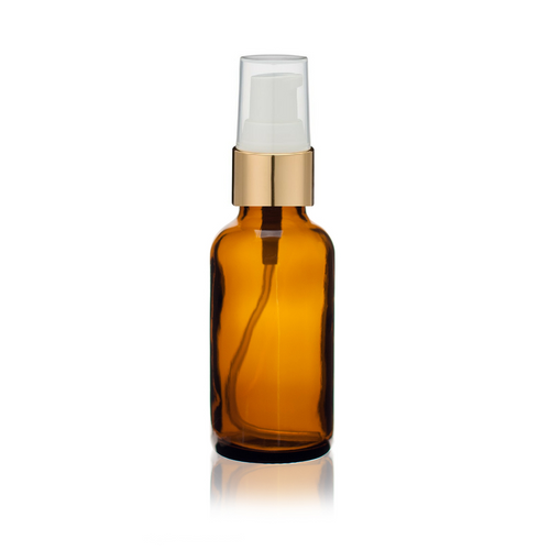 1 oz Amber Glass Bottle w/ White-Matte Gold Treatment Pump
