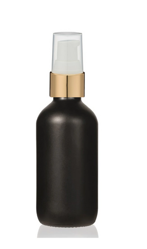 1 Oz Matt Black Glass Bottle w/ White-Matte Gold Treatment Pump