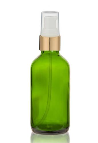 1 Oz Green Glass Bottle w/ White-Matte Gold Treatment Pump