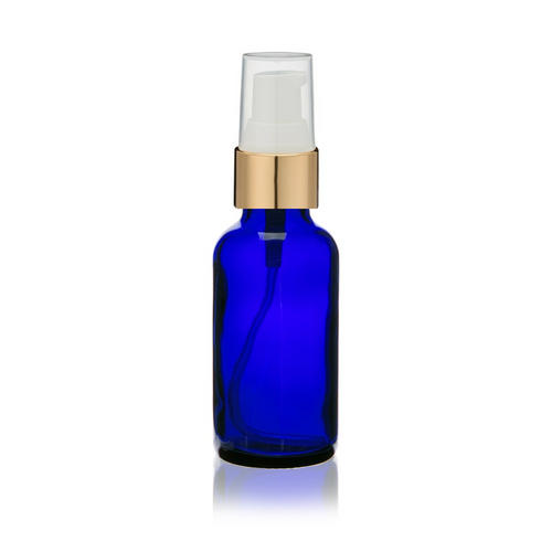 2 Oz Cobalt Blue Bottle w/ White-Matte Gold Treatment Pump