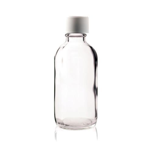 4 oz CLEAR Boston Round Glass Bottle w/ Child Resistant Cap
