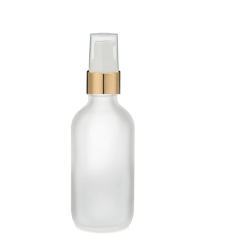 2 Oz Frosted Glass Bottle w/ White-Matte Gold Treatment Pump