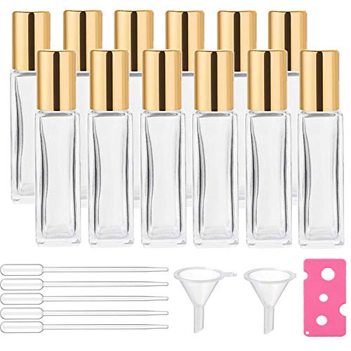 12Pcs 10ml Glass Roll On Bottle for Essential Oils, Eco-friendly Refillable Clear Perfume Sample Bottles with Stainless Steel Roller Ball - Portable & Practical