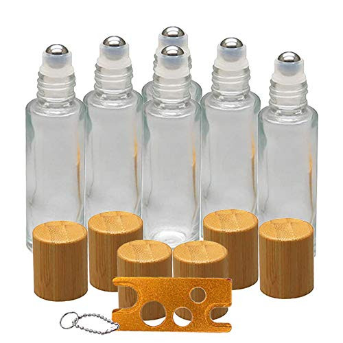 6Pcs 10ml Glass Roll On Bottle with Bamboo Lid for Essential Oils, Creatiee Eco-friendly Refillable Clear Perfume Sample Bottles with Stainless Steel Roller Ball - Portable & Practical