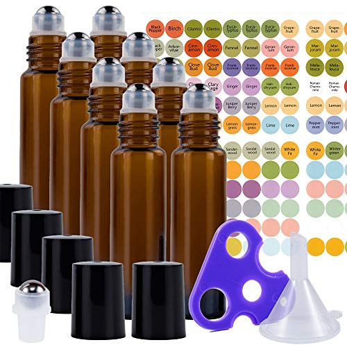 Ultimate Essential Oil Roller Bottles Set with Stainless Steel Balls, 8 Pack 10ml Dark Amber Leakproof Glass Bottle with 9 Rollerballs for Perfume & Aromatherapy Oils 1 Funnel + Opener & 192 Labels