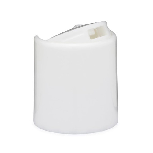 Plastic Caps, White Smooth Disc Top Caps - size (24-410) - pack of 100