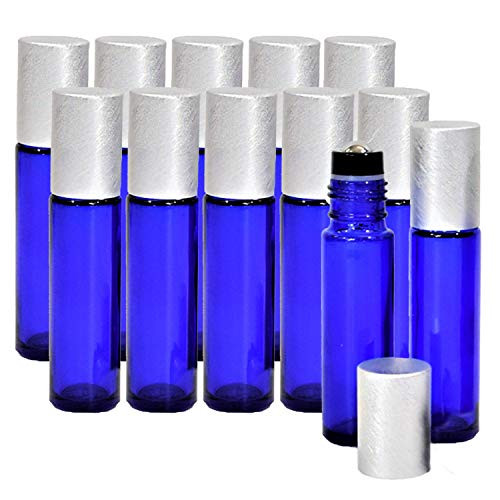 Blue Roller Bottles for Essential Oils (12 PACK) - Roll-On Leakproof Empty Roller Bottles with Stainless Steel Inserts - Oils and Aromatherapy (10ml)