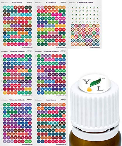 Young Living Essential Oil Labels Bottle Cap Stickers For YL EO Bottles, 7 Sheets 616 Lid Stickers For Aromatherapy Containers by Got Oil Supplies
