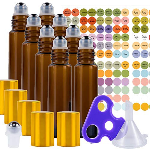 Essential Oil Roller Bottles Set with Stainless Steel Balls, 8 Pack 10ml Amber (Brown) Leakproof Glass Bottle with 8 Rollerballs for Perfume & Aromatherapy Oils - Roller Bottle Opener & 192 Labels
