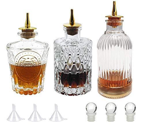 Bitters Bottle Set - Glass Vintage Bottle, Decorative Bottles with Zinc Alloy Dash Top, Great Bottle For Your Bitters (3)