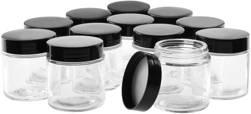 4 oz Clear GLASS Jar Straight Sided w/ Plastic Lined Cap -pack of 12