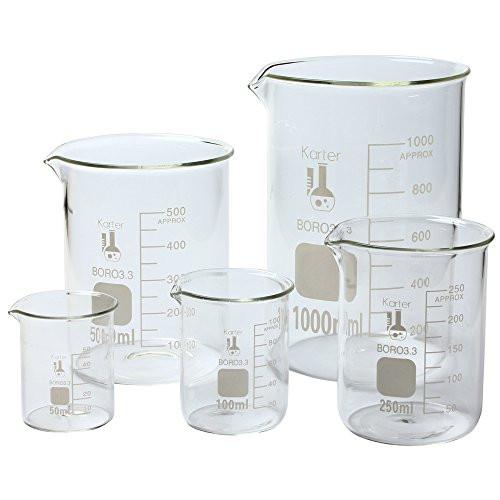 Karter Scientific, 3.3 Boro, Griffin Low Form, Glass Beaker Set - 5 Sizes - 50ml, 100ml, 250ml, 500ml, 1000ml