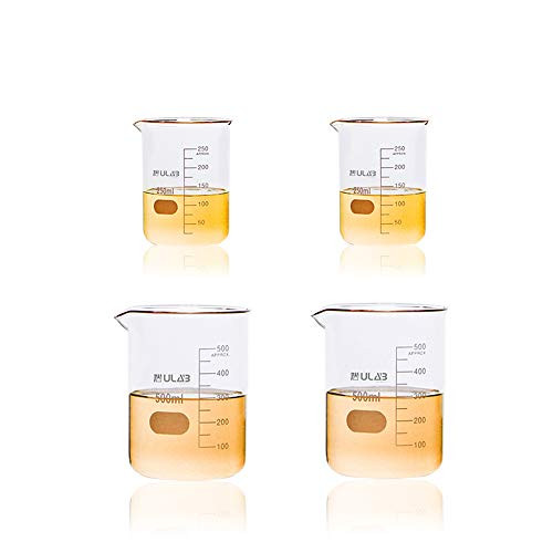 Scientific Glass Beaker 8.5 oz 17 oz, 2pcs of 250ml and 2pcs of 500ml, 3.3 Borosilicate Griffin Low Form with Printed Graduation, UBG1009