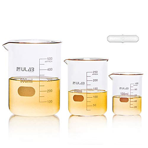Scientific Low Form Griffin Glass Beaker Set with Magnetic Stir Bar Offered, 3 Sizes 100ml 250ml 500ml, 3.3 Borosilicate Glass, Printed Graduation, UBG1004