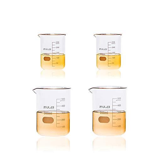 Scientific Glass Beaker 8.5 oz 17 oz, 2 Sizes 250ml 500ml, 2pcs for Each Size, 3.3 Borosilicate Griffin Low Form with Printed Graduation, UBG1012