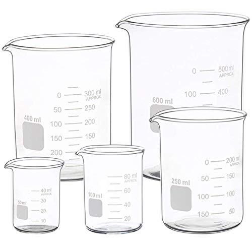 Graduated Glass Measuring Low Form Beaker Set 5 Pcs (50ml 100ml 250ml 400ml 600 ml)-1612662509