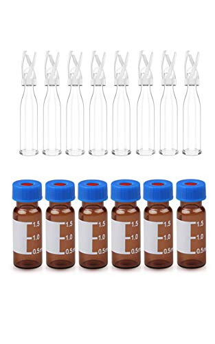 100 Pack 9-425 Autosampler Vials & 100 Pack 0.1mL Glass Vial Inserts