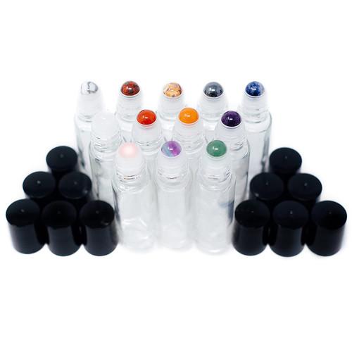 Gemstone Essential Oil Roller Bottles + Tops | Set of 12 Natural Crystals