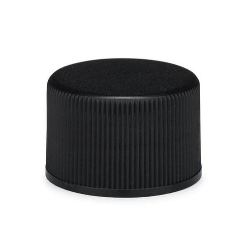20-410  Neck Black PP plastic ribbed skirt lid with foam liner - Bag of  500
