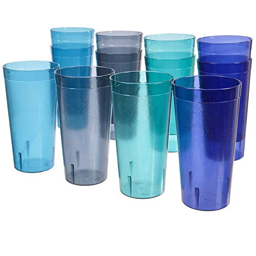 32-ounce Plastic Restaurant-Style Tumblers | set of 12 in 4 Coastal Colors