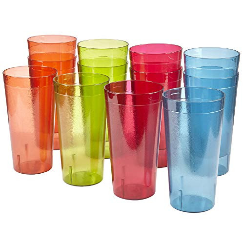 32-ounce Plastic Restaurant-Style Tumblers | set of 12 in 4 Assorted Colors