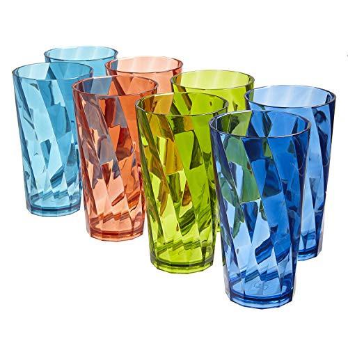 Optix 20-ounce Plastic Tumblers   set of 8 in 4 Basic Colors