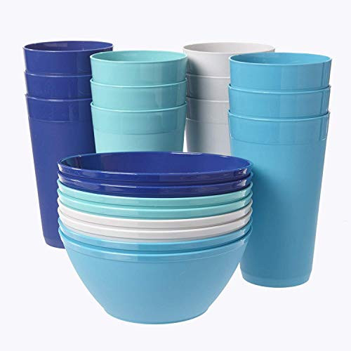 Break-resistant Plastic Cup and Bowl Set with 12 20-ounce Water Tumblers and 8 Cereal Bowls in 4 Coastal Colors
