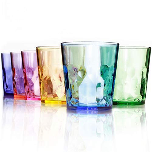 13 oz Unbreakable Premium Drinking Glasses - Set of 6 - Tritan Plastic Tumbler Cups - Perfect for Gifts - BPA Free - Dishwasher Safe - Stackable