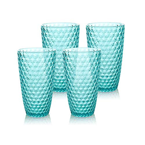 BELLAFORTE - Shatterproof Tritan Tall Tumbler Blue - 19oz, Set of 4, Laguna Beach Drinking Glasses, Dishwasher Safe Plastic Tumblers - Unbreakable Glassware for indoor and Outdoor Use, BPA Free