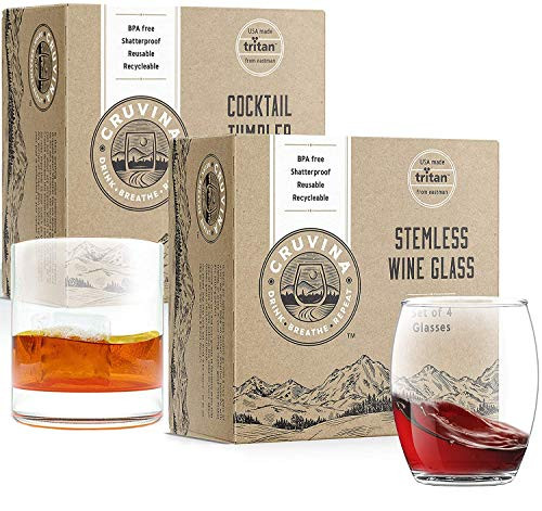 Unbreakable Stemless Wine and Whiskey Glasses, Set of 4 Each, Total of 8 Glasses