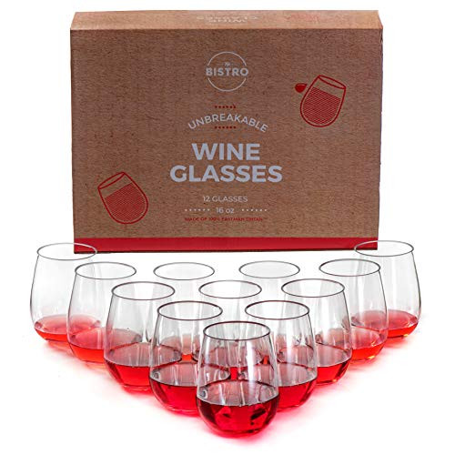 Unbreakable Stemless Wine Glasses   Set of 12   100% Tritan Shatterproof Plastic   16 Oz   Dishwasher Safe   By YO BISTRO