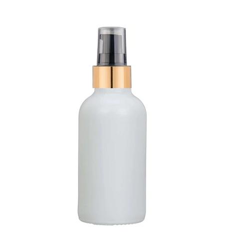 2 Oz Matte White Glass Bottle w/ Black-Matte Gold Treatment Pump